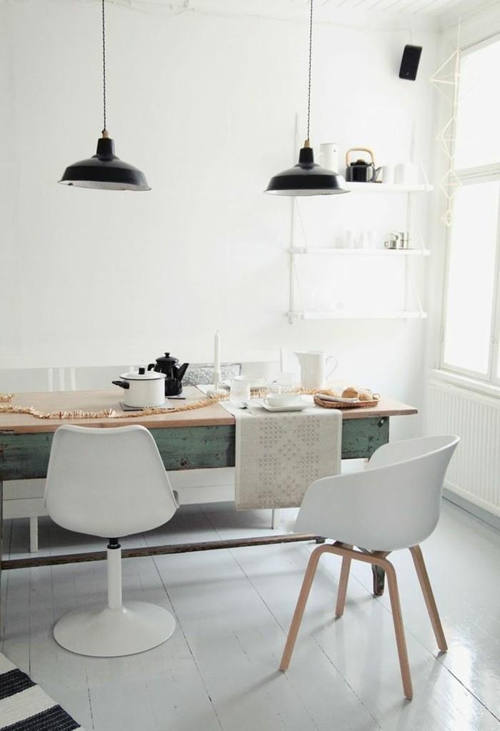 skandinavisch wohnen küche weißer bodenbelag pendelleuchten