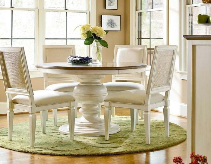 teppich rund grün elegante esszimmermöbel beige wandfarbe