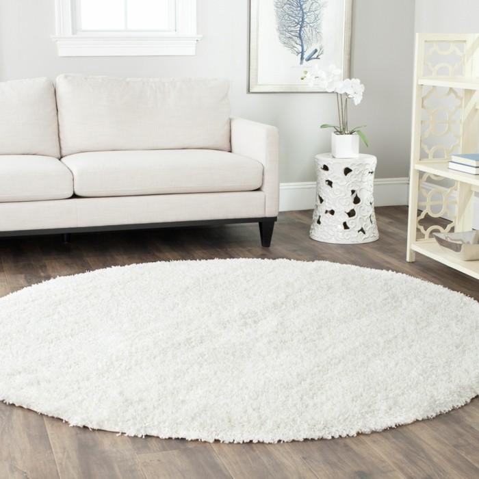 teppich rund weiß weißes sofa