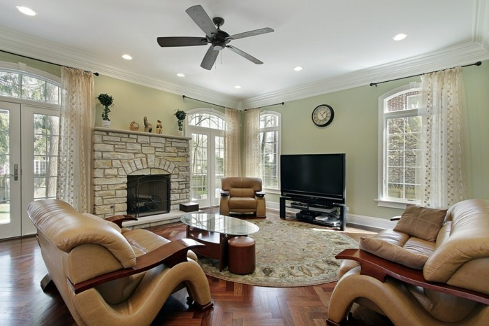 teppich rund wohnideen wohnzimmer ledermöbel