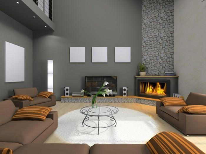 teppich rund wohnzimmer kamin steine dekoideen graue wände blumendeko