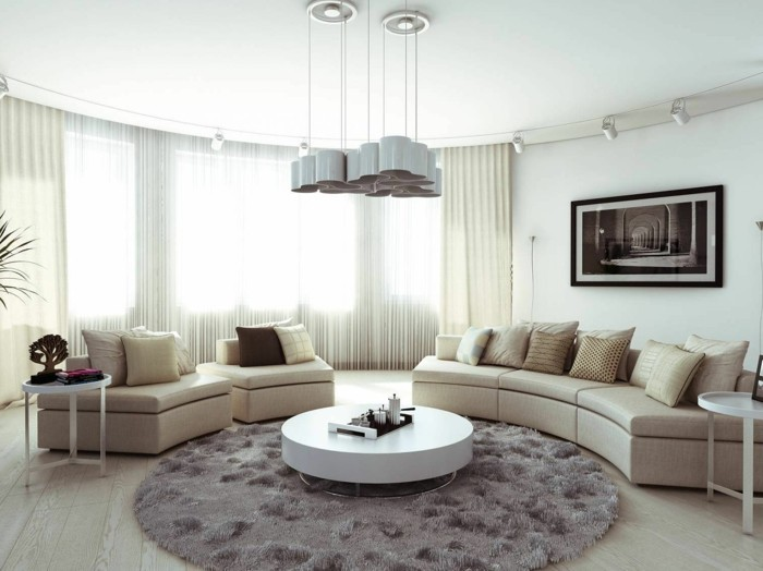 teppich rund wohnzimmer runder couchtisch hängelampe