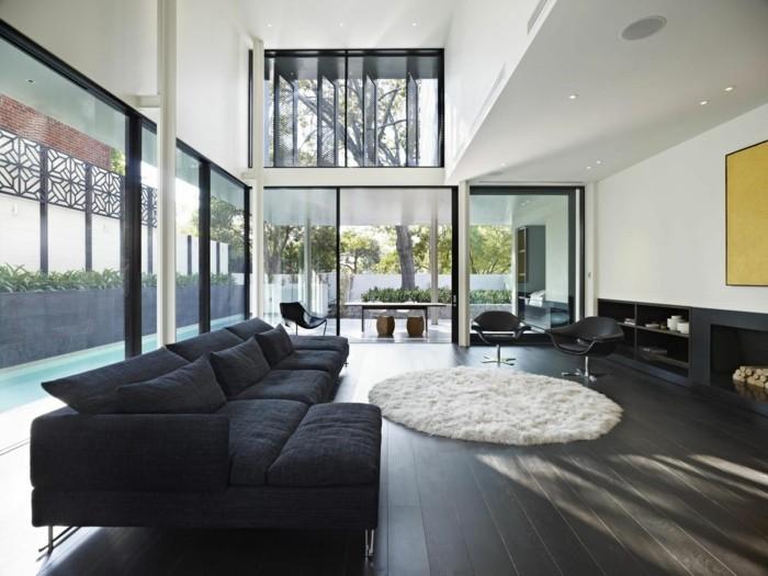 teppich rund wohnzimmer weiß ecksofa sessel