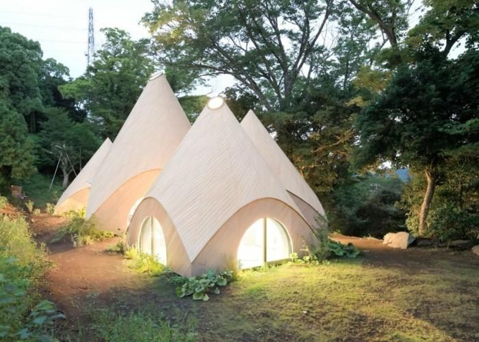tipi zelt moderne hauser japan holz beton
