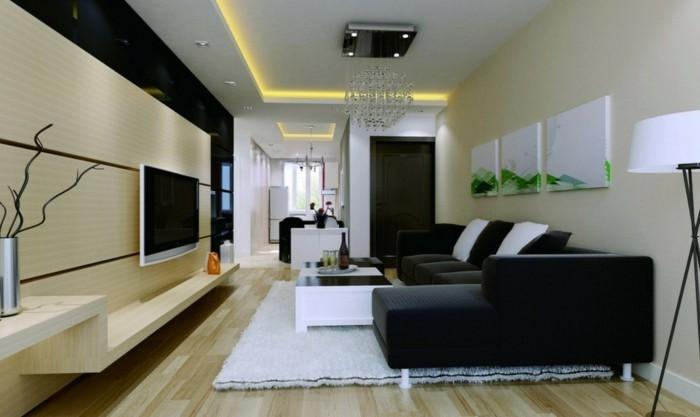 wandbilder dekoideen wohnzimmer leinwandbilder weißer teppich schwarzes sofa