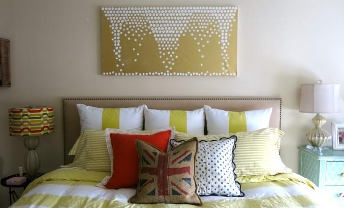 wandbilder diy ideen dekoideen schlafzimmer dekokissen