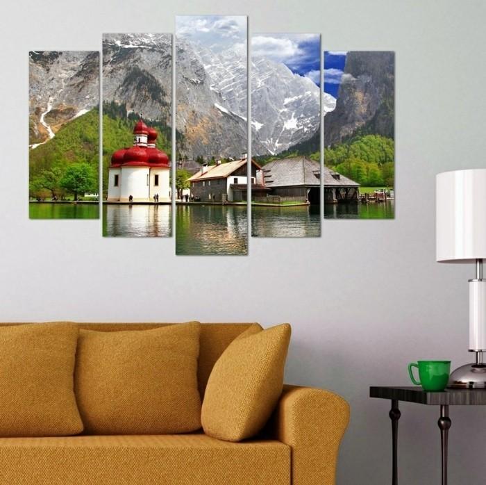 wandbilder wanddeko wohnzimmer landschaft schickes sofa