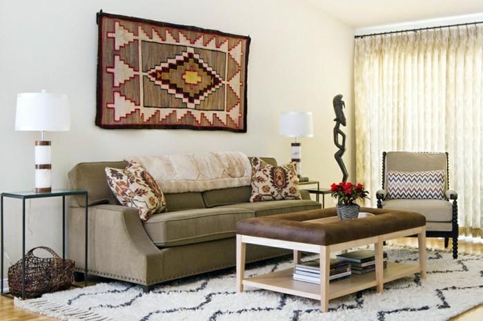 wanddeko ideen wohnzimmer teppich schöne muster