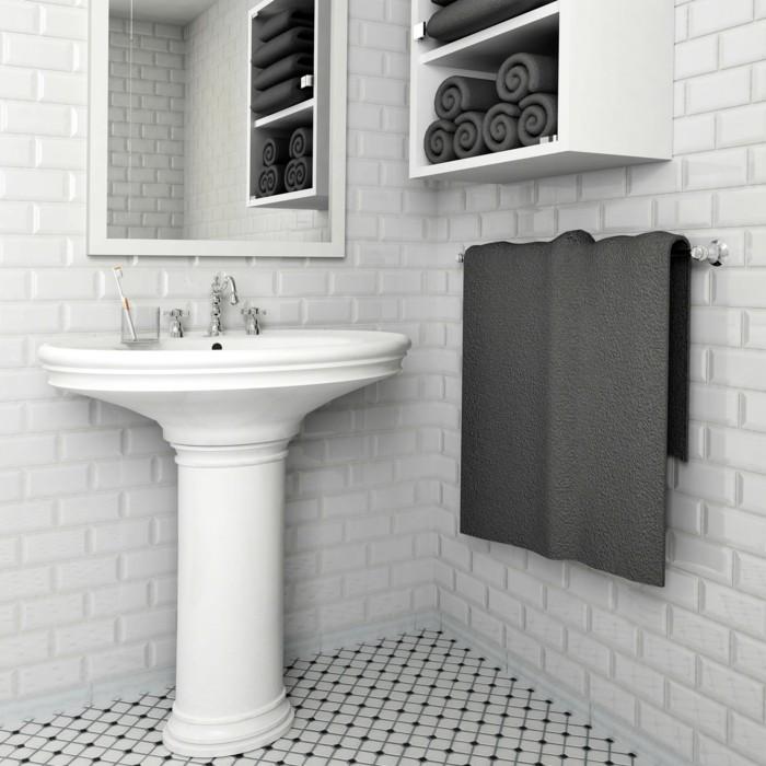 wandgestaltung ideen badezimmer wanddesign weiße metro fliesen