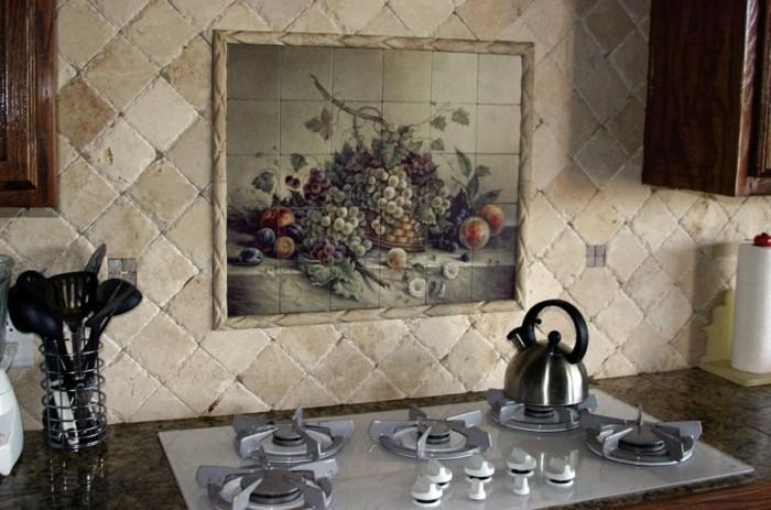 wandgestaltung ideen küche wandfliesen steinoptik krakeleetechnik