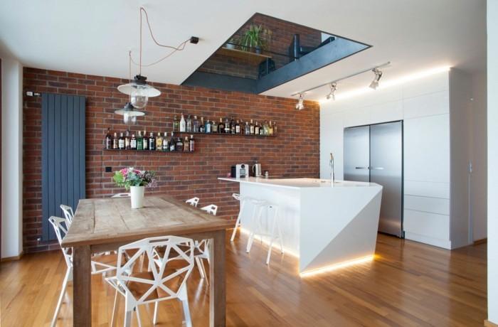 wandgestaltung ideen küche ziegel wandfliesen beleuchtete kucheninsel