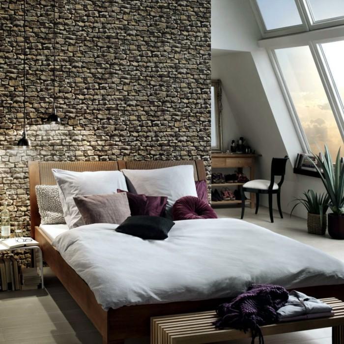 wandgestaltung ideen schlafzimmer steinwand hängelampen