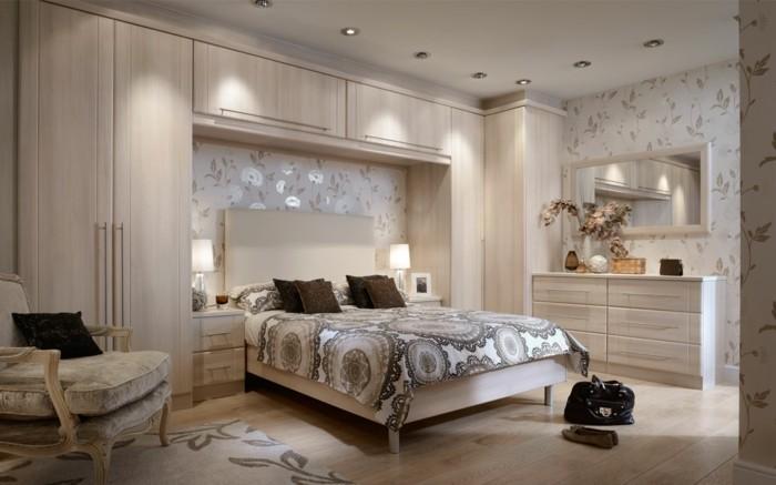 wandgestaltung ideen tapete florales muster schlafzimmer