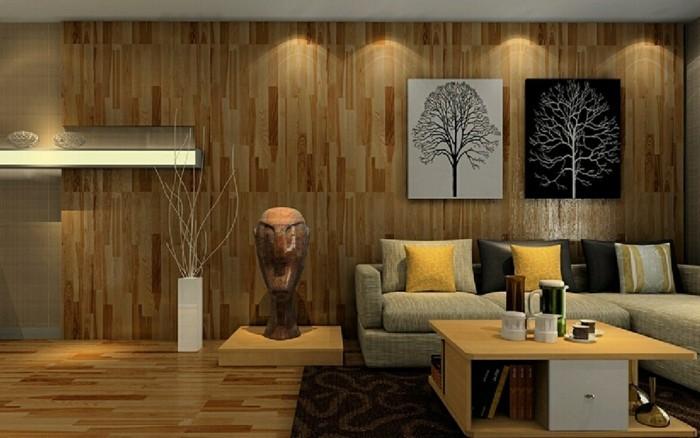 wohnzimmer ideen wandgestaltung holz. Black Bedroom Furniture Sets. Home Design Ideas