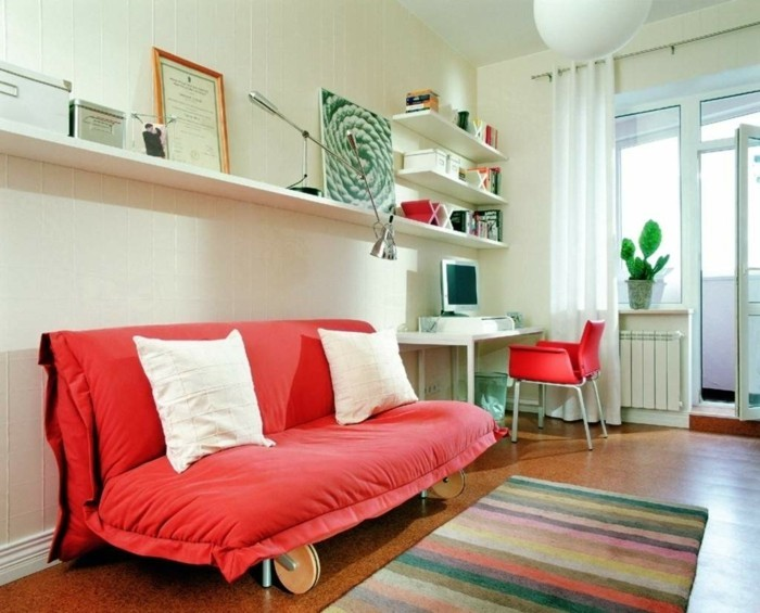 wohneinrichtung ideen retro stil streifenteppich