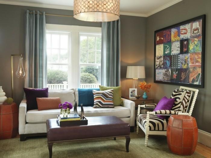 wohneinrichtung ideen retro stil wohnzimmer graue wände zebra muster