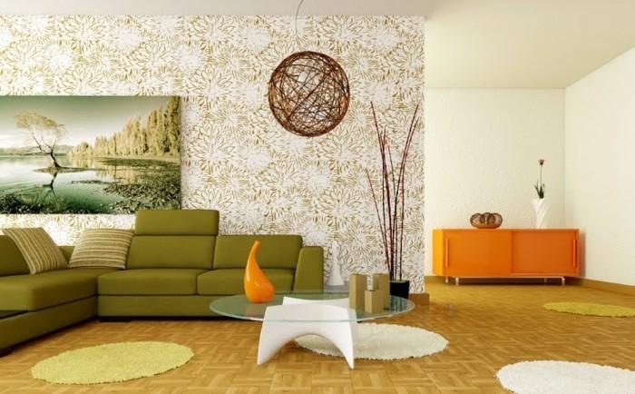 wohnzimmer einrichten ideen wohneinrichtung ideen retro wohnzimmer einrichten grunes sofa runde teppiche