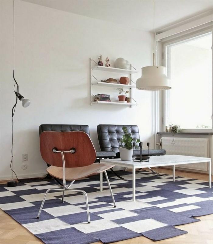wohneinrichtung ideen retro wohnzimmer teppich ledersessel weiße wände