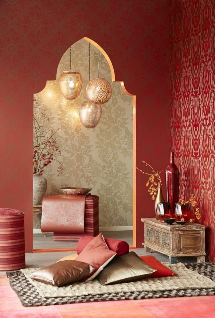 wohneinrichtung ideen wohnideen arabischer stil muster bodenkissen schöne wandfarbe
