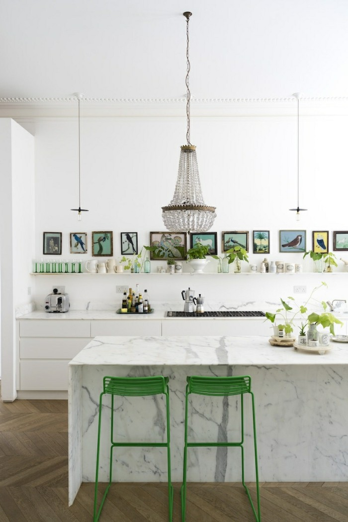 wohnideen küche grüne akzente weiße wände
