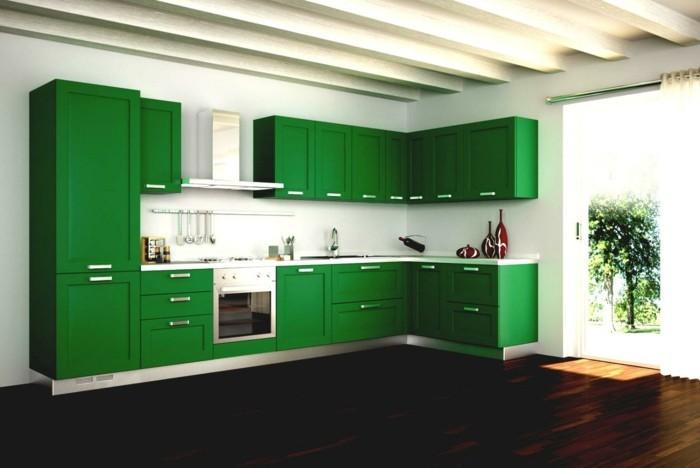 wohnideen küche grüne küchenschränke dunkler bodenbelag