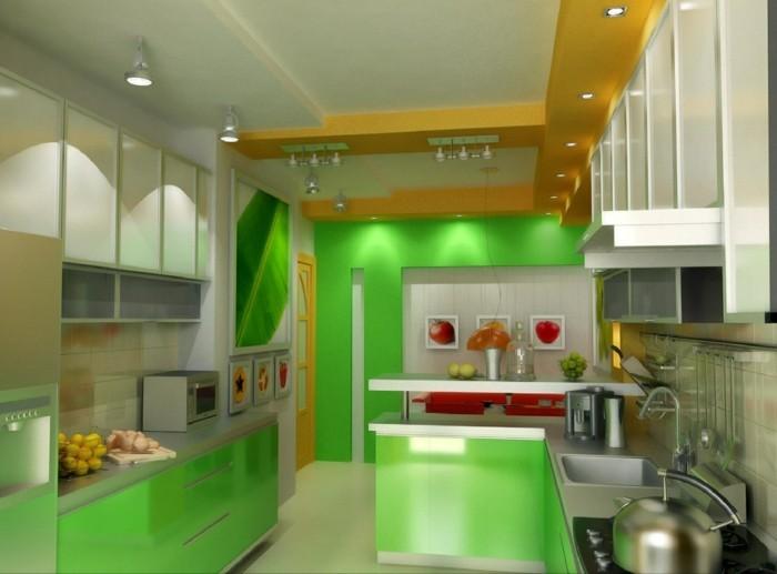 wohnideen küche grüne küchenschränke einbauleuchten rote akzente