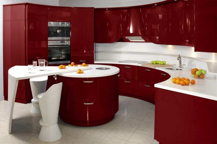 wohnideen küche luxuriöse einrichtung rot weiß bodenfliesen