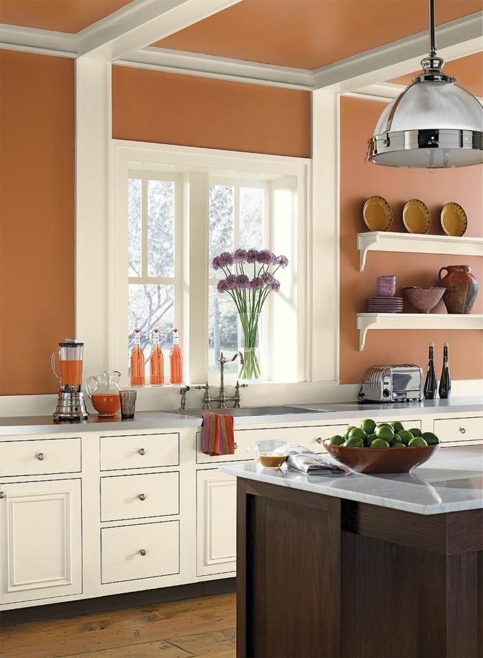 wohnideen küche milde wandfarbe weiße küchenschränke