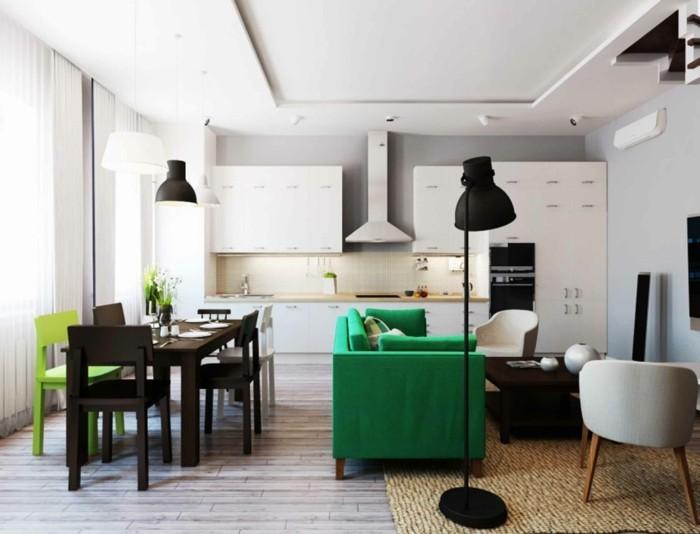 wohnideen küche offener wohnplan gruner küchenstuhl