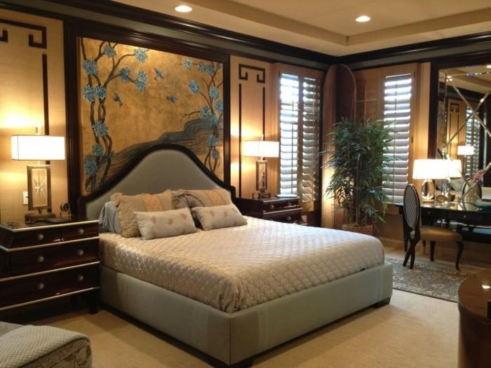 Wohnideen Schlafzimmer Einrichtung Bereiche Absondern Schöne Akzentwand  Gestaltung Schlafzimmer U2013 20 Beispiele, Wie Sie Ein Exotisches Schlafzimmer  ...