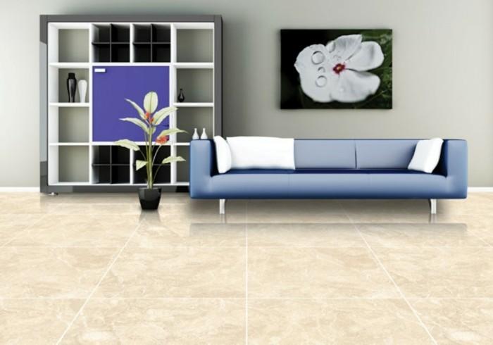 wohnideen wohnzimmer bodenfliesen stein pflanze