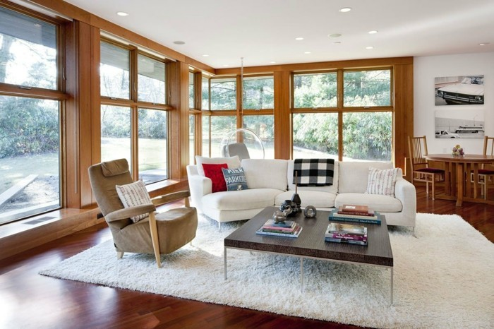 wohnideen wohnzimmer weißer teppich gemütlich