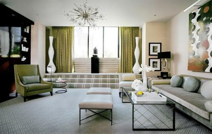 wohnung einrichten ideen art deco stil grüne gardinen schöner leuchter