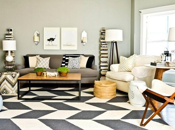 Wohnung Einrichten Ideen Eklektisches Wohnzimmer Hellgrüne Wände