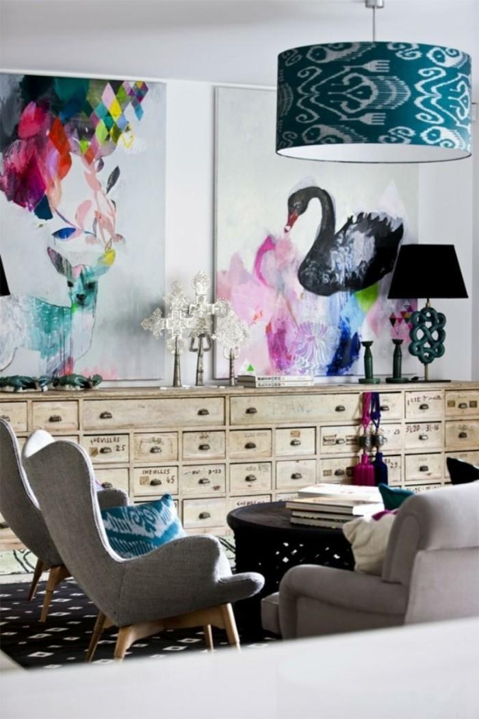 wohnung einrichten ideen eklektisches wohnzimmer gestalten schöne wanddeko retro hauch