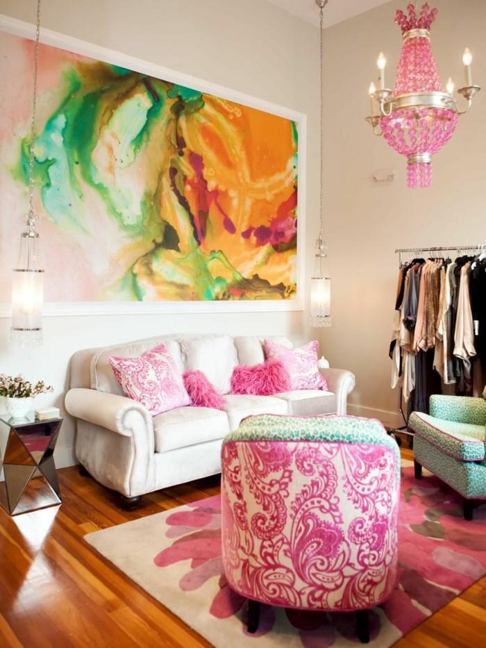 wohnung einrichten ideen eklektisches wohnzimmer schöne muster ornamente schönes gemälde