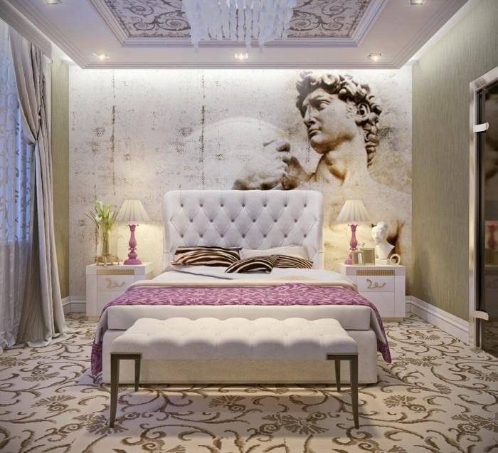 wohnung einrichten ideen schlafzimmer art deco schöner teppich schlafzimmerbank