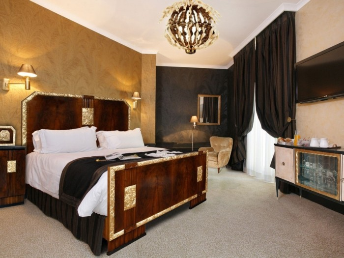 wohnung einrichten ideen schlafzimmer art deco teppichboden schöne wandtapete
