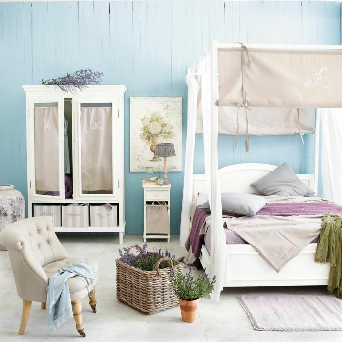wohnung einrichten ideen schlafzimmer blaue wände himmelbett