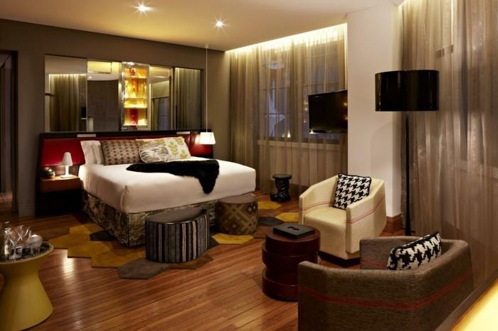 wohnung einrichten ideen schlafzimmer gestalten hocker ausgefallener teppich