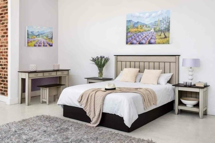 Wohnung Einrichten Ideen Schlafzimmer Schöne Wanddeko Wandbilder Teppich  Weiße Wände