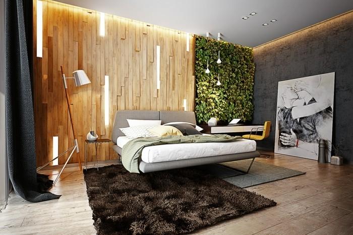 wohnung einrichten ideen schlafzimmer umweltstil brauner teppich vertikaler garten