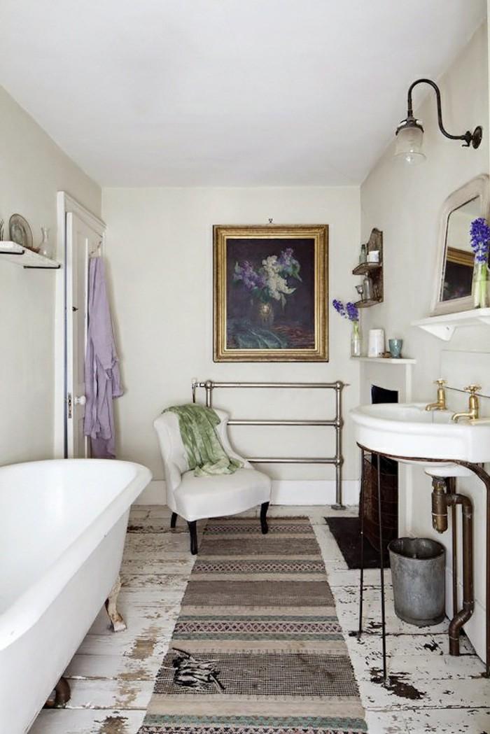 wohnung einrichten ideen shabby chic badezimmer teppichläufer