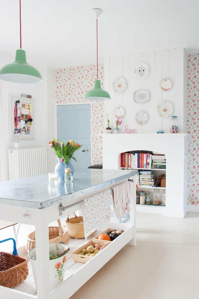 wohnung einrichten ideen skandinavisch wohnen tapetenmuster küchendesign