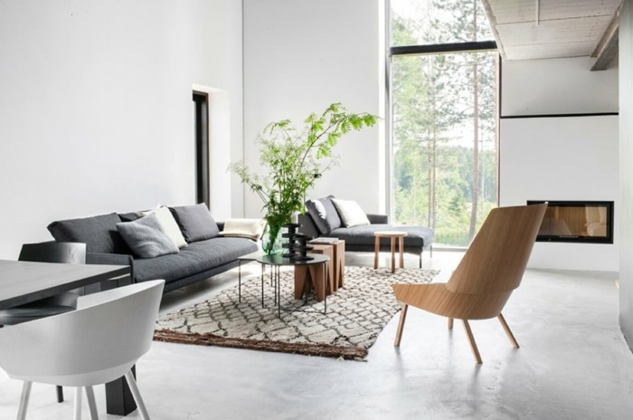 wohnzimmer grau braun: einrichten ideen skandinavisches wohnzimmer grau weiß braun pflanzen
