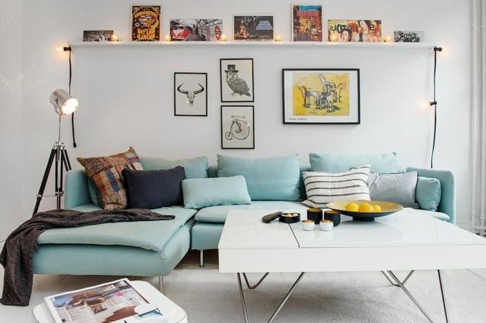 wohnung einrichten ideen wohnideen wohnzimmer hellgrünes sofa weiße wände