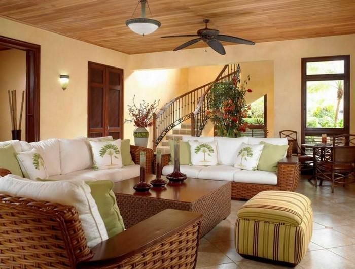 wohnung einrichten ideen wohnzimmer einrichten grüne elemente rattanmöbel