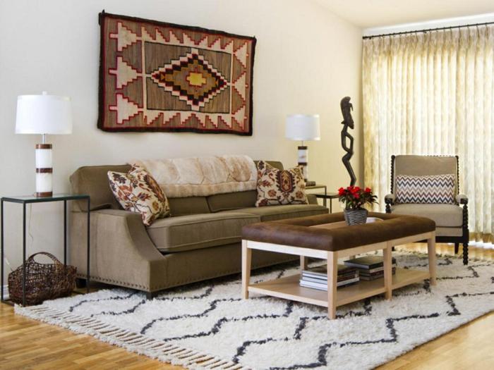 wohnung einrichten ideen wohnzimmer dekorativer teppich