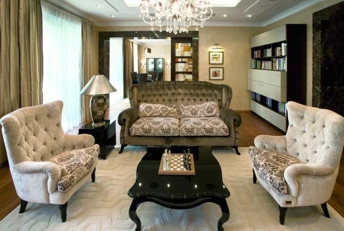 wohnung einrichten ideen wohnzimmer gestalten art deko stil leuchter schöner teppich