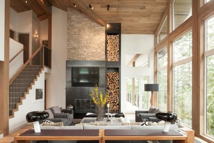 wohnung einrichten ideen wohnzimmer holzakzente innentreppen umweltstil